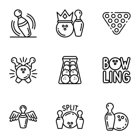 Bowling tournament icon set. Outline set of 9 bowling tournament vector icons for web design isolated on white background