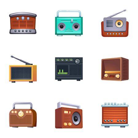 Vintage radio icons set. Cartoon set of vintage radio vector icons for web design