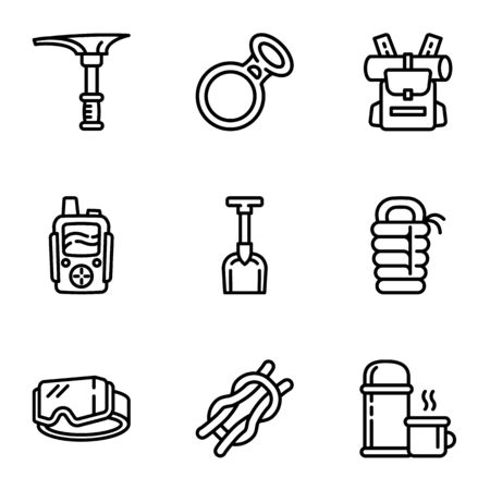 Modern hiking equipment icon set. Outline set of 9 modern hiking equipment vector icons for web design isolated on white background
