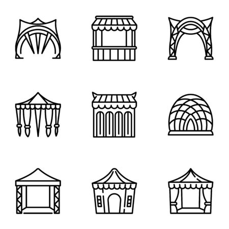 Modern holiday tent icon set. Outline set of 9 modern holiday tent vector icons for web design isolated on white background
