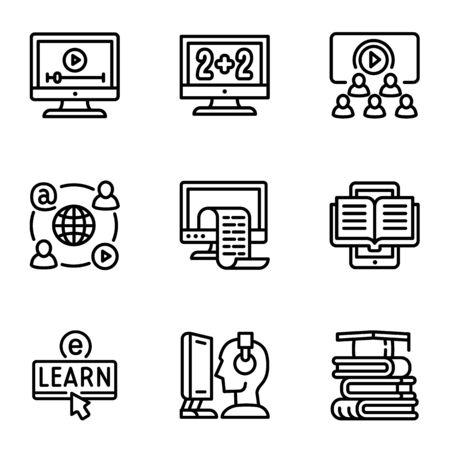 Online webinar icon set. Outline set of 9 online webinar vector icons for web design isolated on white background