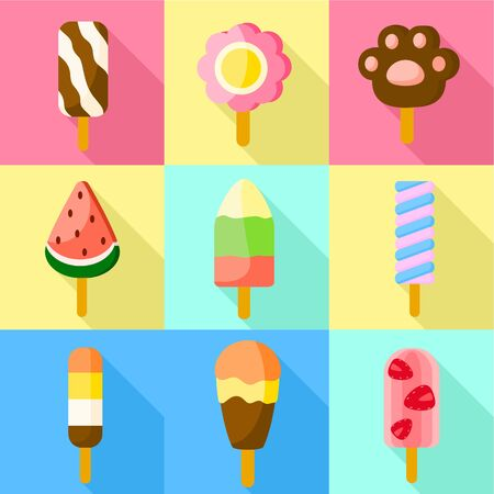 Fruit ice lolly icon set. Flat set of 9 fruit ice lolly vector icons for web design isolated on white background
