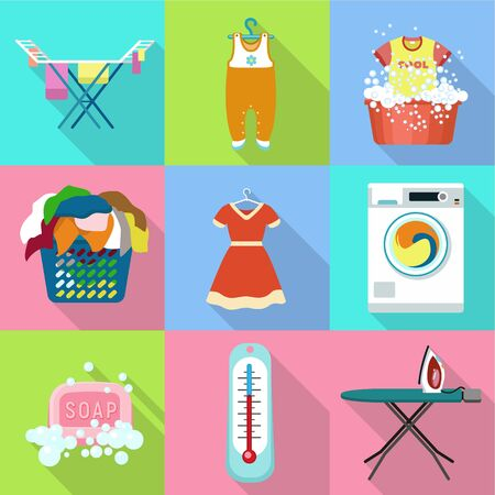 Washing equipment icon set. Flat set of 9 washing equipment vector icons for web design isolated on white background