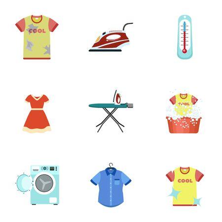 Domestic wash icon set. Flat set of 9 domestic wash vector icons for web design isolated on white background Ilustracja