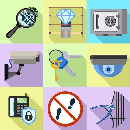 Modern digital security icon set. Flat set of 9 modern digital security vector icons for web design isolated on white background Ilustracja