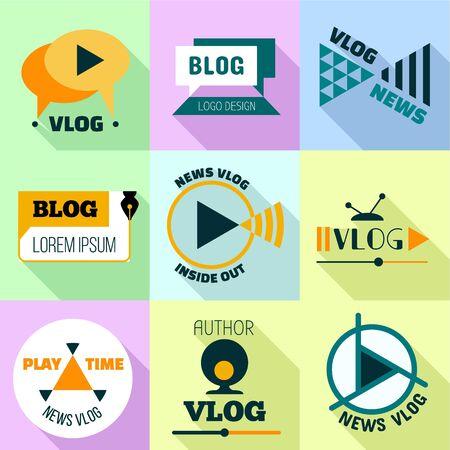 Play time vlog logo set. Flat set of 9 play time vlog vector logo for web design isolated on white background
