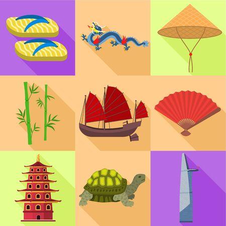 Vietnam travel icon set. Flat set of 9 Vietnam travel vector icons for web design isolated on white background Illustration