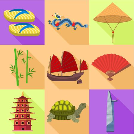 Vietnam travel icon set. Flat set of 9 Vietnam travel vector icons for web design isolated on white background Ilustracja
