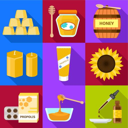 Apiary honey icon set. Flat set of 9 apiary honey vector icons for web design isolated on white background