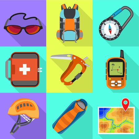 Climbing equipment icon set. Flat set of 9 climbing equipment vector icons for web design isolated on white background