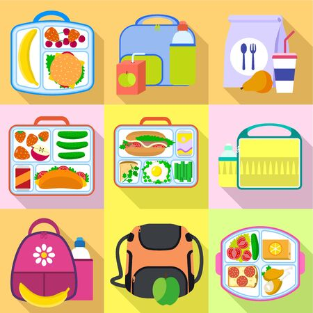 Fresh food lunch bag icon set. Flat set of 9 fresh food lunch bag vector icons for web design isolated on white background