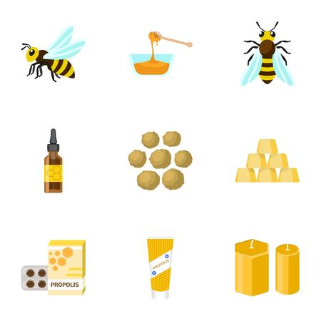 Eco natural honey icon set. Flat set of 9 eco natural honey vector icons for web design isolated on white background