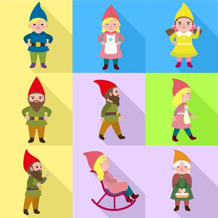 Fairy gnome icon set. Flat set of 9 fairy gnome vector icons for web design isolated on white background