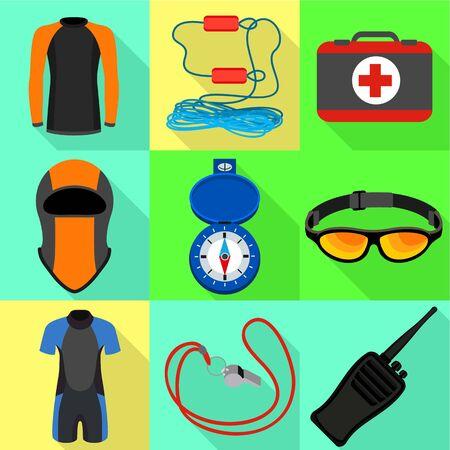 Canoeing tools icon set. Flat set of 9 canoeing tools vector icons for web design isolated on white background Ilustracja