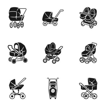 Newborn pram icon set. Simple set of 9 newborn pram vector icons for web design isolated on white background Ilustracja