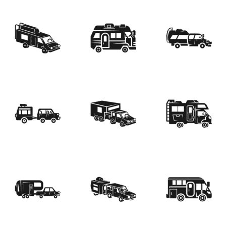 Mobile motorhome icon set. Simple set of 9 mobile motorhome vector icons for web design isolated on white background