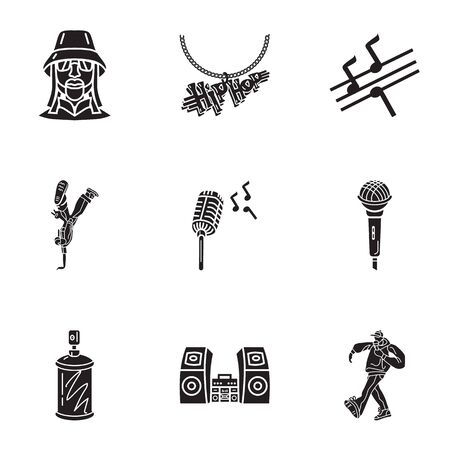 Street hip hop icon set. Simple set of 9 street hip hop vector icons for web design isolated on white background
