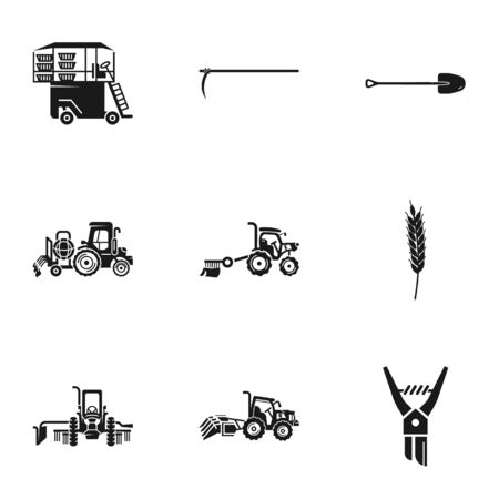 Agronomy machinery icon set. Simple set of 9 agronomy machinery vector icons for web design isolated on white background Ilustracja