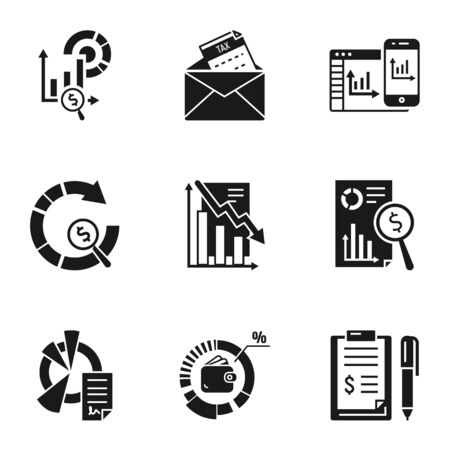 Finance graph icon set. Simple set of 9 finance graph vector icons for web design isolated on white background Ilustracja