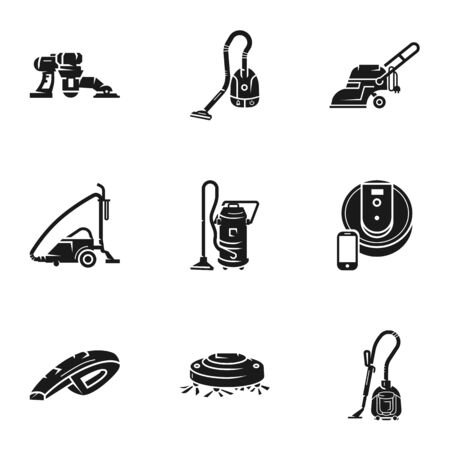 House vacuum cleaner icon set. Simple set of 9 house vacuum cleaner vector icons for web design isolated on white background Ilustracja