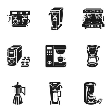Office coffee machine icon set. Simple set of 9 office coffee machine vector icons for web design isolated on white background