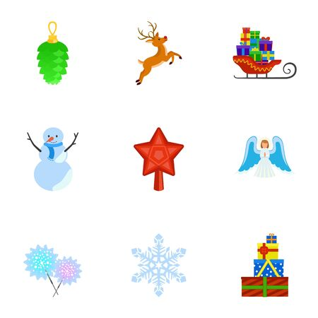 Winter holidays icon set. Flat set of 9 winter holidays vector icons for web design isolated on white background