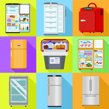 Commercial fridge icon set. Flat set of 9 commercial fridge vector icons for web design isolated on white background