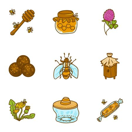 Bee honey icon set. Hand drawn set of 9 bee honey vector icons for web design isolated on white background Ilustracja