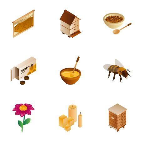 Honey wax icon set. Isometric set of 9 honey wax vector icons for web design isolated on white background