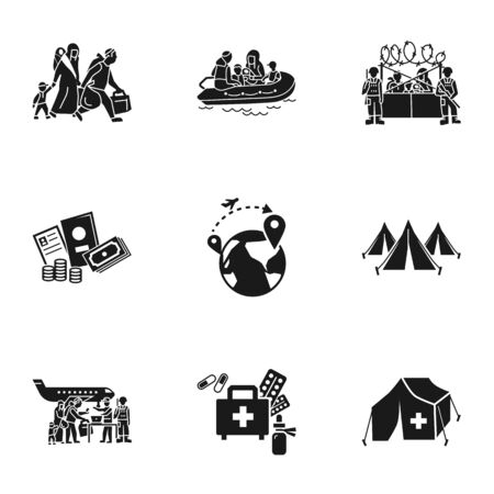 Refugee charity icon set. Simple set of 9 refugee charity vector icons for web design isolated on white background