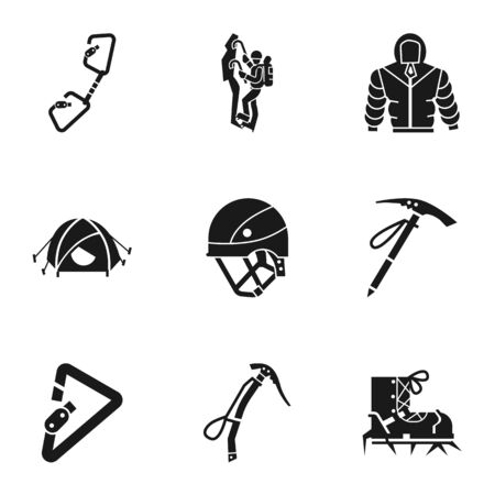 Climbing tools icon set. Simple set of 9 climbing tools vector icons for web design isolated on white background Ilustracja