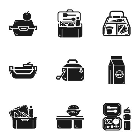 School lunch box icon set. Simple set of 9 school lunch box vector icons for web design isolated on white background Ilustracja