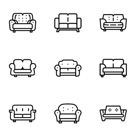 Home sofa icon set. Outline set of 9 home sofa vector icons for web design isolated on white background Ilustracja