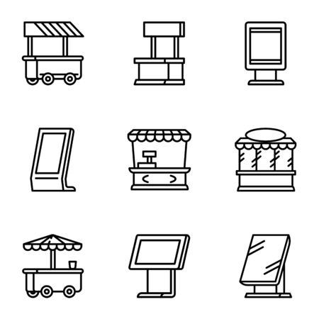 City street shop icon set. Outline set of 9 city street shop vector icons for web design isolated on white background