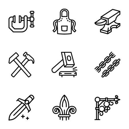 Steel blacksmith object icon set. Outline set of 9 steel blacksmith object vector icons for web design isolated on white background Ilustracja