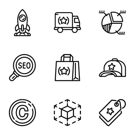 Seo engine icon set. Outline set of 9 seo engine vector icons for web design isolated on white background