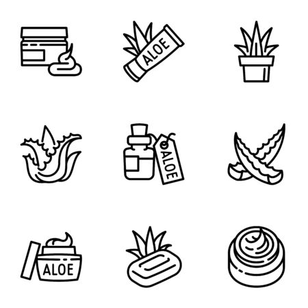 Aloe vera product icon set. Outline set of 9 aloe vera product vector icons for web design isolated on white background