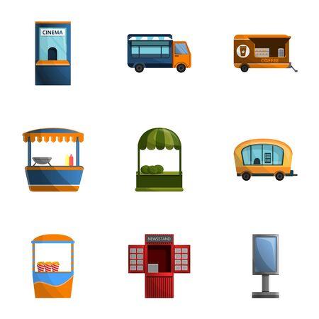 City street shop icon set. Cartoon set of 9 city street shop vector icons for web design isolated on white background Ilustracja