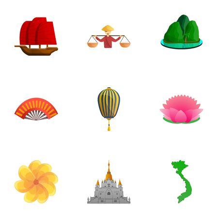 Vietnam landmark icon set. Cartoon set of 9 vietnam landmark vector icons for web design isolated on white background Ilustracja