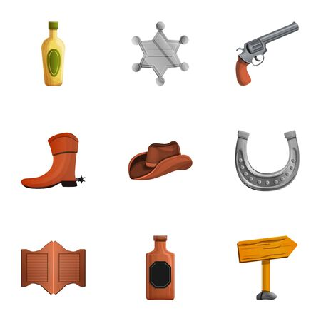 Saloon cowboy icon set. Cartoon set of 9 saloon cowboy vector icons for web design isolated on white background Ilustracja