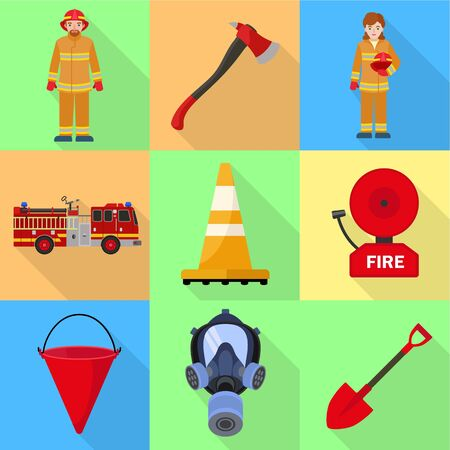 Firefighter job icon set. Flat set of 9 firefighter job vector icons for web design isolated on white background