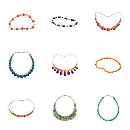 Woman necklace icon set. Cartoon set of 9 woman necklace vector icons for web design isolated on white background