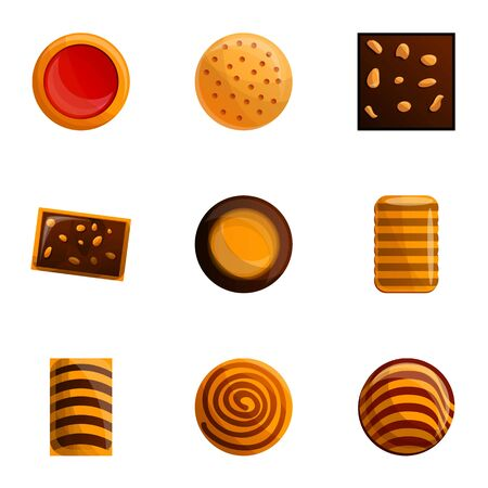 Sugar biscuit icon set. Cartoon set of 9 sugar biscuit vector icons for web design isolated on white background