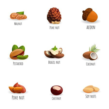 Fresh nuts icon set. Cartoon set of 9 fresh nuts vector icons for web design isolated on white background Ilustracja