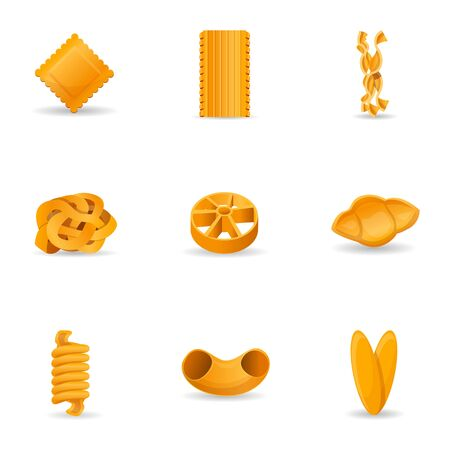 Delicious pasta icon set. Cartoon set of 9 delicious pasta vector icons for web design isolated on white background Ilustracja