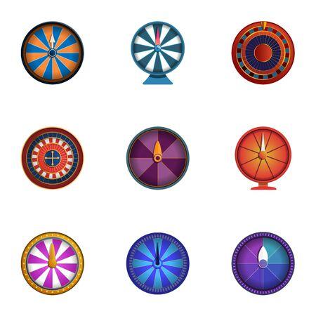 Casino fortuin wiel pictogramserie. Cartoon set van 9 casino fortuin wiel vector iconen voor webdesign geïsoleerd op een witte achtergrond Vector Illustratie