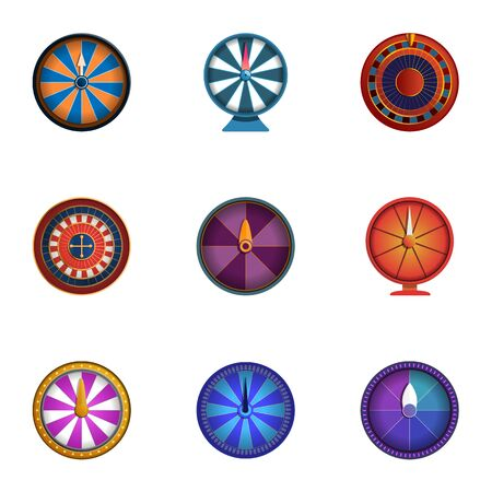 Casino fortune wheel icon set. Cartoon set of 9 casino fortune wheel vector icons for web design isolated on white background Illustration