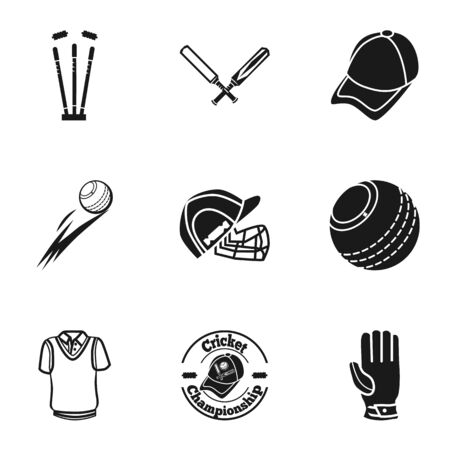 Cricket championship icon set. Simple set of 9 cricket championship vector icons for web design isolated on white background Ilustracja