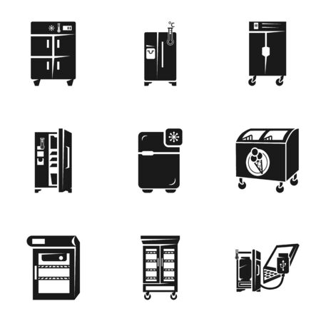 Home fridge icon set. Simple set of 9 home fridge vector icons for web design isolated on white background Ilustracja