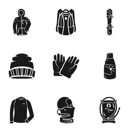 Ski sport tools icon set. Simple set of 9 ski sport tools vector icons for web design isolated on white background